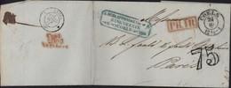 Allemagne Coeln 24 10 53 Pour Paris Taxe Tampon 75 Marque Passage PR 1R Prusse Rayon 1 + Entrée Prusse 3 Valenciennes - Legerstempels (voor 1900)