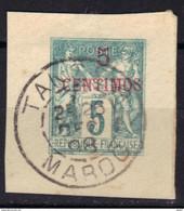 Maroc Type Sage 5 Centimes Surchargé En Centimos, Fragment D'entier Postal Oblitération TANGER 26 DEC 1898 - Used Stamps