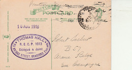 1916 PPC Needles Eye, Apperley Bridge T Hall RECP PC Club To Belgian Soldier, Military Cancel - Bradford