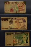 ITALIA REPUBBLICA  DA L. 1000 A  L. 500000 7 BANCONOTE SU LAMINA ORO - Andere