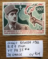 CONGO BRAZ 1966 Mi 87 - YT 38 DE GAULLE CV 40€ LUXE - Congo - Brazzaville