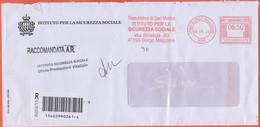 Repubblica Di San Marino - 2020 - 6,50 EMA, Red Cancel - Istituto Per La Sicurezza Sociale - Raccomandata A.R. - Viaggia - Briefe U. Dokumente