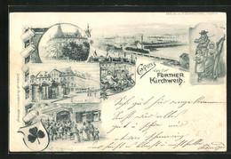 AK Fürth, Volksfest Fürther Kirchweih, Hotel Kütt, Ortsansicht, Ganzsache Bayern, PP15 D26 /01 - Stamped Stationery