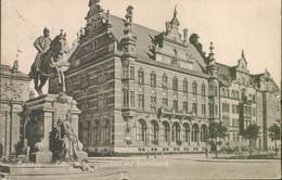 Alte Kleinformatkarte DANZIG, Kaiser Wilhelm Denkmal Und Reichsbank, Gelaufen Aus Niederlanden 1915 - Polen