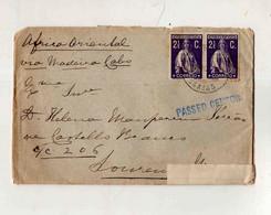 Cx15 83) Portugal Ceres 2,5 C 1916  Via Madeira Cabo > Esposa Governador  Moçambique PASSED CENSOR - 1910 - ... Repubblica