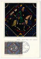 FRANCE -  Carte Maximum - 1,00F Vitrail De Sens - 5 Juin 1965 - 1960-69