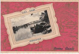 N°5551 R -carte Bonne Année Viêt Nam Indochine- Montage -collage Photo- - Vietnam