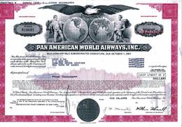 PAN AMERICAN WORLD AIRWAYS; 10 1/2% Convert. Debenture - Aviazione