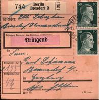 ! 1943 Berlin Biesdorf Nach Herzberg,  Paketkarte, Deutsches Reich, 3. Reich - Lettres & Documents