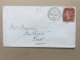 GB 1873 Cover Harrogate Duplex To York Tied With 1d Red Plate - Brieven En Documenten