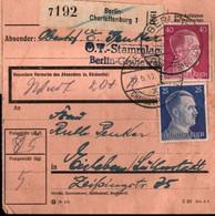 ! 1943 Berlin Charlottenburg Abs. Stammlager, Lager Grunewald Nach Eisleben,  Paketkarte, Deutsches Reich, 3. Reich - Lettres & Documents