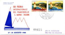 1960 SAN MARINO FDC 12° Giornata Filatelica S. Marino - Riccione - FDC