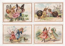 Chromo   DUMONT  à Bondy    Lot De 5    Enfants Escargots, Libellule, Sauterelle, Papillon, Scarrabée     12.2 X 8.3 Cm - Andere