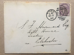 GB 1890 Cover With York Duplex To Colchester - Brieven En Documenten