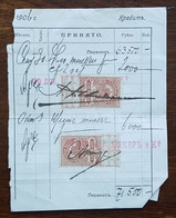 Russie - Timbres Fiscaux Sur Document - 1906 - Fiscales