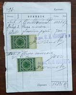 Russie - Timbres Fiscaux Sur Document - 1898 - Fiscales