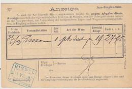 Jura-Simplon-Bahn - Bahn-Anzeige - Gestempelt 1899            (P-275-00302) - Altri