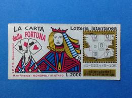 ITALIA LOTTERIA ISTANTANEA BIGLIETTO LOTTERY TICKET GRATTA E VINCI USATO L. 2000 LA CARTA DELLA FORTUNA - Lottery Tickets