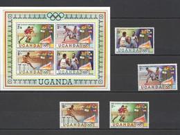 B420 1980 UGANDA SPORT OLYMPIC GAMES MOSCOW 1980 #278-281 SET+KB MNH - Sommer 1980: Moskau