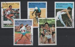 JO92/E3 - NICARAGUA 5 Val. Obl.  Jeux Olympiques 1992 Barcelone - Nicaragua