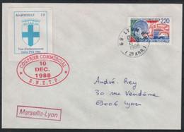 PLI GRÈVE DE 1988 2F DE MARSEILLE SUR LETTRE POUR LYON - Strike Stamps
