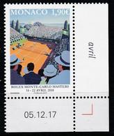 Monaco 2018 : LUXE !!! N° 2121 - ROLEX MONTE-CARLO MASTERS 2018  - Neuf** - En Coin Daté - - Ungebraucht