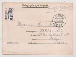 1944 LETTRE DE STAMMLAGER XII A STALAG  A PARIS / CACHET ALZEY   KRIEGSGEFANGENENPOST  C1169 - Lettres & Documents