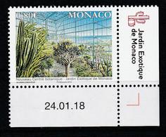 Monaco 2018 : LUXE !!! - N° 3137 / NOUVEAU CENTRE BOTANIQUE DU JARDIN EXOTIQUE - Neuf** - En Coin Daté - - Ungebraucht