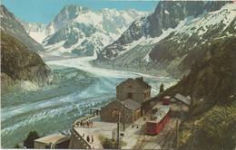 Chamonix Mont-Blanc : La Gare Du Montenvers, La Mer De Glace Et Les Grandes Jorasses (Voyagé 1962) - Chamonix-Mont-Blanc
