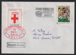 PLI GRÈVE DE 1988 4F DE MARSEILLE SUR LETTRE POUR GENEVE - Strike Stamps