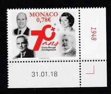 Monaco 2018 : LUXE !!! - N° 3127 - 70e ANNIVERSAIRE DE LA CROIX-ROUGE MONEGASQUE - Neuf** - En Coin Daté - - Ungebraucht