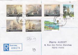 GUERNSEY - BUSTA VIAGGIATA RACC. - GUERNSEY - VIAGGIATA PER PARIS - FRANCIA - Guernsey