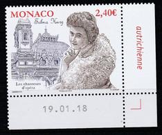 Monaco 2018 : LUXE !!! - N° 3131 - LES CHANTEURS D'OPÉRA - SELMA KURZ - Neuf** - En Coin Daté - - Ungebraucht