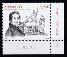 Monaco 2018 : LUXE !!! - N° 3134 - 250e ANNIVERSAIRE DE LA NAISSANCE DE FRANÇOIS-JOSEPH BOSIO  - Neuf** - En Coin Daté - - Ungebraucht
