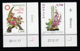 Monaco 2018 : LUXE !!! - N°3128 & 3130 - Concours International De Bouquets Et Garden Club  - Neuf** - En Coin Daté - - Nuovi