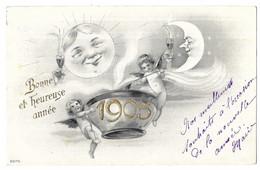 Angelots Soleil Quart De Lune Pot De Chambre Bonne Et Heureuse Année 1905 Tannenzweig 2070 - Angeles