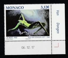 Monaco 2018 : LUXE !!! - N° 3133 ** - Le Nu Dans L'Art (La Nuit - Kees Van Dongen)  - Neuf** - En Coin Daté - - Ungebraucht