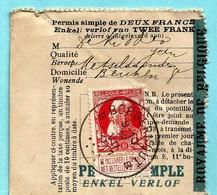 N° 74 Op VISVERLOF / PERMIS DE PECHE, Afst. BORGERHOUT 12/07/1911 (permis Simple De 2 Francs) - 1905 Barbas Largas