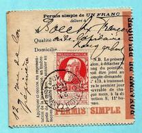 N° 74 Op VISVERLOF / PERMIS DE PECHE, Afst. BORGERHOUT (ANVERS) 21/05/1910 (permis Simple De 1 Franc) - 1905 Barbas Largas