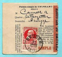 N° 74 Op VISVERLOF / PERMIS DE PECHE, Afst. BRUGES 21/01/1910 (permis Simple De 1 Franc) - 1905 Barbas Largas