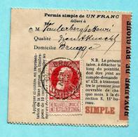 N° 74 Op VISVERLOF / PERMIS DE PECHE, Afst. BRUGES (STATION) 21/01/1910 (permis Simple De 1 Franc) - 1905 Barbas Largas