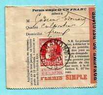 N° 74 Op VISVERLOF / PERMIS DE PECHE,afst. LIBRAMONT 29/03/1910 (permis Simple De 1 Franc) -- Domicile Titulaire : FREUX - 1905 Grosse Barbe