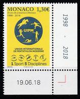 Monaco 2018 : LUXE !!! - N° 3158 - Pentathlon Moderne - Neuf** - En Coin Daté - - Ungebraucht