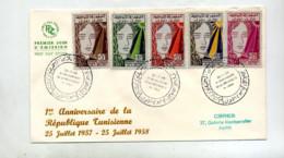 Lettre Fdc  1958 Anniversaire Republique - Tunisia