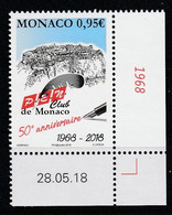 Monaco 2018 : LUXE !!! - N° 3156 - Club Du PEN  - Neuf** - En Coin Daté - - Ungebraucht