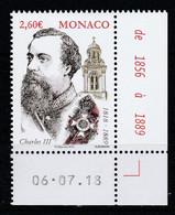 Monaco 2018 : LUXE !!! - N° 3155 - Bicentenaire De La Naissance Du Prince Charles III  - Neuf** - En Coin Daté - - Ungebraucht