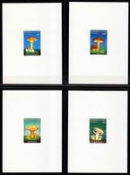 Burkina Faso-1990, Mi.1231-1234, 4 Deluxe Sheets, Mushrooms, MNH** - Mushrooms