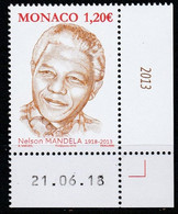 Monaco 2018 : LUXE !!! - N° 3154 - Nelson Mandela  - Neuf** - En Coin Daté - - Ungebraucht