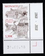Monaco 2018 : LUXE !!! - N° 3145 - 150 ANS DE L'ARRIVÉE DU PREMIER TRAIN À MONACO - Neuf** - En Coin Daté - - Ungebraucht