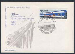DDR Germany 1973 Brief Cover - 20 Jahre BAG Philatelie VEB Waggonbau Görlitz, 1953-1973 / Kulturbund DDR - Trains
